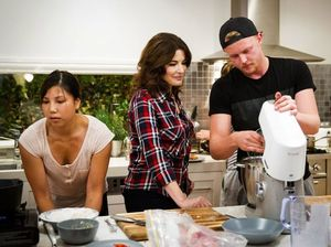 MasterChef contestants Karmen Lu and Harry Foster cook a midnight snack for guest judge Nigella Lawson.