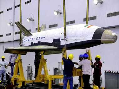 An undated handout photograph released by the Indian Space Research Organization (ISRO) on 23 May 2016 shows India's Reusable Launch Vehicle (RLV)-TD in India India has successfully test fired its first space shuttle called the RLV, early morning, 23 May. The experiment is being considered as the first step towards developing resusable vehicles, by India.