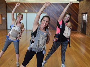 Dance Kix instructor Donna Hann with mums Amber Smith and Natalie Buhagian during the Bounce Back baby Mums class. Photo Tegan Annett / The Observer