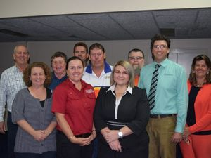 Callide Dawson Chamber of Commerce board members (back L-R) Ross Munroe, Mick Bonnano, Gavin Coleman Bruce Dekker, Brad Harrison Geoff Arnold, Anna Radel (front) Symonn Leighton, Genevieve Gleeson and Donna Morrall. Photo Andrew Thorpe / Central Telegraph