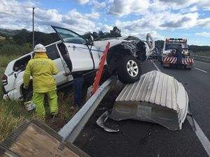 Two injured in rollover on Bruce Highway