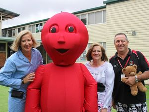 PJ DAY: Dalby South State School deputy principal Kate Paynter, Jasper the Jellybean, deputy principal Lyn Fletcher and Principal David Kucks.