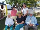 Rae Earl, Loretta Smith, (front) Mary Carmichael, Avriel Tyson and Murray Smith at the Springsure Show. Photo Rebekah Yelland / CQ News
