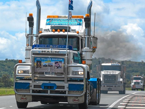 Truck driver and photographer Chris Elmore took these images of Lights on the Hill convoy trucks at Gatton and along the highway. Photo Contributed by Chris Elmore