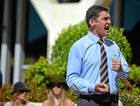 Independent MP Peter Wellington gives a passionate speech during protests outside the Nambour Council Chambers to prevent a 'secret' council town planning meeting regarding the high rise Sekisui development at Yaroomba. Photo: Iain Curry / Sunshine Coast Daily