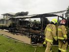 A fire destroyed half of a beachfront home on Childe Street in Belongil near Byron Bay early this morning