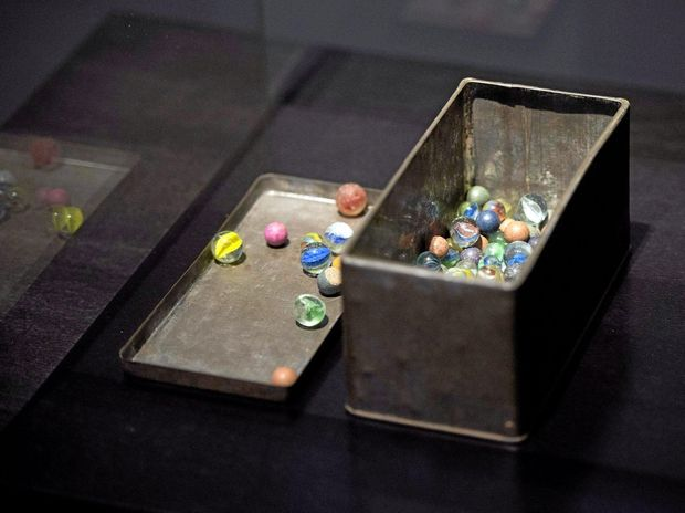 Marbles that belonged Jewish Holocaust victim Anne Frank during the opening of the exposition 'The Second World War in 100 Objects' in the Kunsthal museum in Rotterdam, The Netherlands, 04 February 2014. EPA/OLAF KRAAK