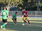 Some of the action from the Fraser Coast League game between Maryborough West and KSS Jets.