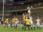 STANDING TALL: England's Maro Itoje wins a lineout during the first Test against the Wallabies at Suncorp Stadium.