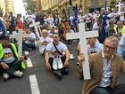 TWU national secretary Tony Sheldon and members of the union at a recent blockade in Sydney.