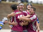 Toowoomba Bears celebrate a try by Brent Edwards (back to camera) against University in Downs Rugby Risdon Cup round 11 rugby union at Heritage Oval, Saturday, June 18, 2016.