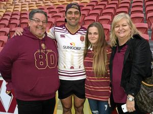 Maroons fan wins afternoon with Origin legend