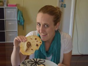 Sarah Broadley with her breakfast for Tuesday morning. Photo Andrew Thorpe / Central Telegraph