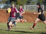 Hayden Brown heading for a Toowoomba Bears try against UQ Gatton during yesterday's round 12 Risdon Cup match at Toowoomba State High School.