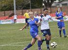 National Premier Leagues Qld, round 15, South-West v Gold Coast at the Athletic Oval. Thunder no 11- Rosanna Berry (left), GC no 13-Jenaya Wharekawa. june 25, 2016