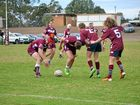 The Dalby Diehards U18s (maroon shorts) v Border at the Dalby Leagues Club today.