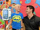 Mt. Kilamanjaro climber Rhys Greedy is raising money for the Children's Ward at Nambour General Hospital.Rhys chats to 10 year old Brodie Tedeschi in the playroom at the Children's Ward at Nambour General Hospital.