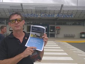 AIRPORT SAFETY: John Ring of the United Firefighter Union at the Whitsunday Coast Airport on Monday.