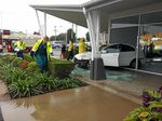 CRASH: The scene at Southside Central (Olsen's Corner) where a car has crashed into a shop.