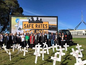 TWA union reps campaigning about safe rates in Canberra.
