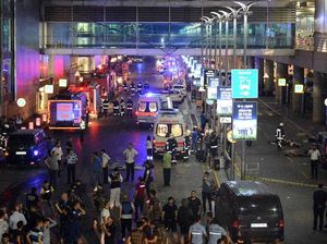 Turkish rescue services gather outside Istanbul's Ataturk airport, Tuesday, June 28, 2016. Two explosions have rocked Istanbul's Ataturk airport, killing several people and wounding others, Turkey's justice minister and another official said Tuesday. A Turkish official says two attackers have blown themselves up at the airport after police fired at them
