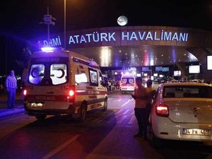 Turkish police block the road after an suicide bomb attack at Ataturk Airport in Istanbul, Turkey, 28 June 2016. At least 10 people were killed in two separate explosions that hit Ataturk Airport.