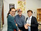 Dr Ian MacDonald gets the all clear to retire from Brassall Medical Clinic staff Larissa Meldrum and Linda Davey.