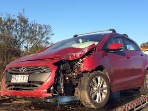 Woman crashes after swerving to miss kangaroo