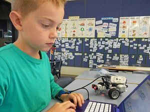 ROBOTICS: Goonengerry PS student Zaska Daniel hard at work at the recent robotics workshop.