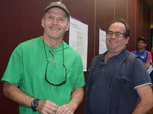 EAGER: Tony Fontes and Tim Wootton at Airlie Beach PCYC standing in line to vote this afternoon. Photo Inge Hansen / Whitsunday Times.