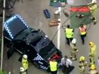 Aerial footage of a crash on the Pacific Hwy. Screenshot Nine News