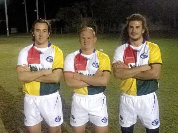 BYRON RUGBY: Players show of this Saturday's charity playing strips which will be auctioned after the match.