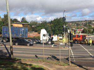 Truck fire breaks out near top of Toowoomba Range