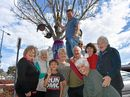 Gemma Condon, Rae Gleeson, Will Condon, Anthony Condon up the tree, Tom Condon, Roberta Smith, Pamela Hart, Philomena Aspinall and Beryl Walsh are part of the Diggers Club. Last year their tree received highly commended.