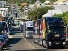 With horns blaring $2 million worth of V8 transporters, trailers and equipment rolled through the city signalling the start of the Ipswich Coates Hire Supersprint.