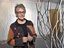 Artist, Elizabeth Poole at the opening of Beings and Biospheres. Exhibition opening at the Art Society. July 9. 2016