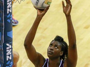 HARD TO HANDLE: Queensland Firebirds goal-shooter Romelda Aiken lines up a shot.