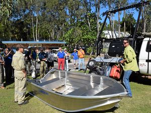 Noosa Men's Shed inventors club members attended a demonstration from local inventor Murray Masling.