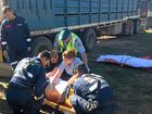 Man crushed between truck and cattle loading ramp