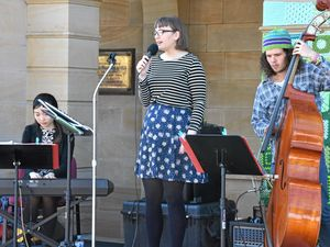 SWING STAR: Kayleigh Pincott (middle), Sophie Min and Charles Hill wowed crowds outside the Town Hall.