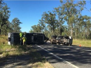 BREAKING: Caravan rollover stops traffic at Mt Larcom