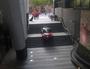 Brisbane car suspended on stairwell