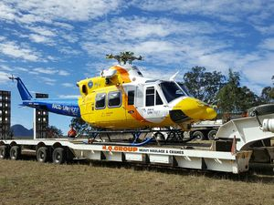 Helicopter hit by ute on the road to repair