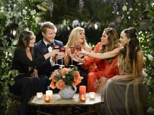 Richie Strahan, second from left, with bachelorettes Eliza, Faith, Noni and Janey in a scene from episode one of the fourth season of The Bachelor.