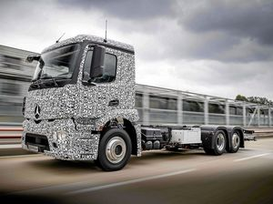 The Mercedes Benz urban eTruck on the road.