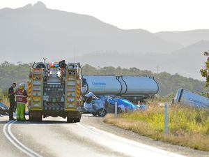 UPDATE: Chemical spill closes road as police investigate death in Gladstone horror crash