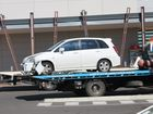 A CAR going into gear too soon caused a domino effect in the Stockland Hervey Bay car park.