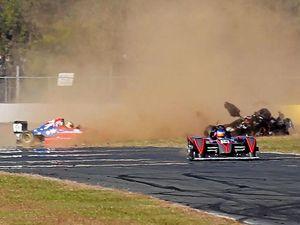 Frightening mishap at Raceway sends driver airborne