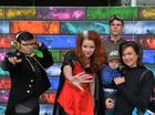 "IMAGINARIUM: USC Open Day activities. 7 July, 2016. Jake as Ranger DangerCalum, Chayse as Electria and Calum ""Captain USC"" with Amy Brown and her son Cooper, 2."