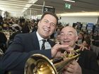 Media personality Karl Stefanovic and jazz legend James Morrison have some fun as special guests at charity lunch It's A Bloke Thing at Wellcamp Airport, Tuesday, August 9, 2016.